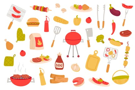 Paquete de objetos aislados de picnic barbacoa