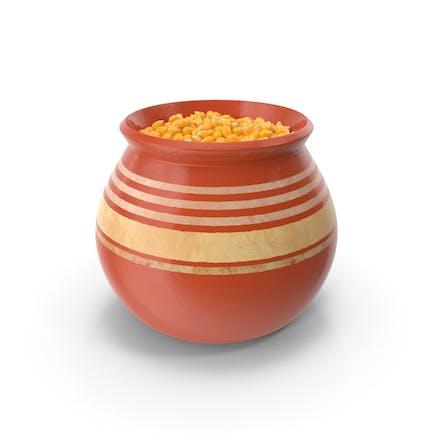 Ceramic Pot With Corn