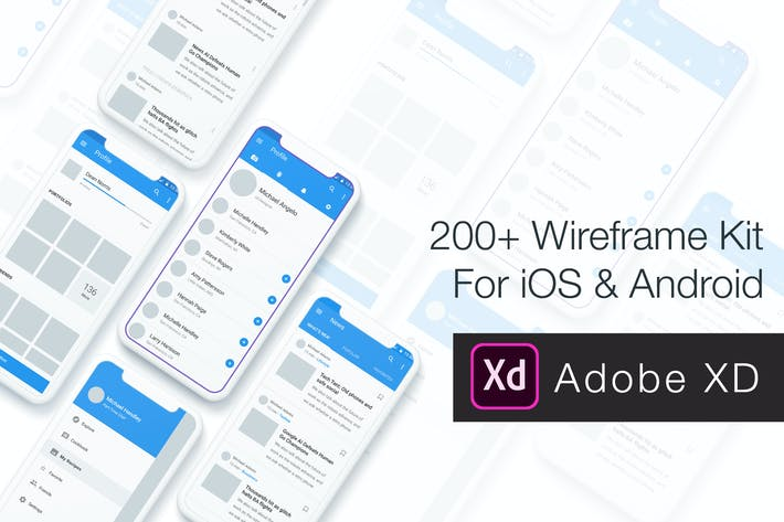 Thumbnail for Baseframe - Wireframe UI KIT 200++ XD Version
