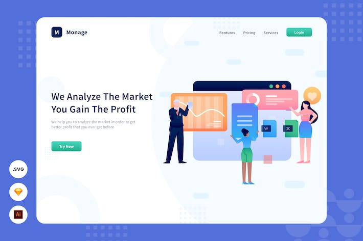 Thumbnail for Market Analyze - Website Header - Illustration