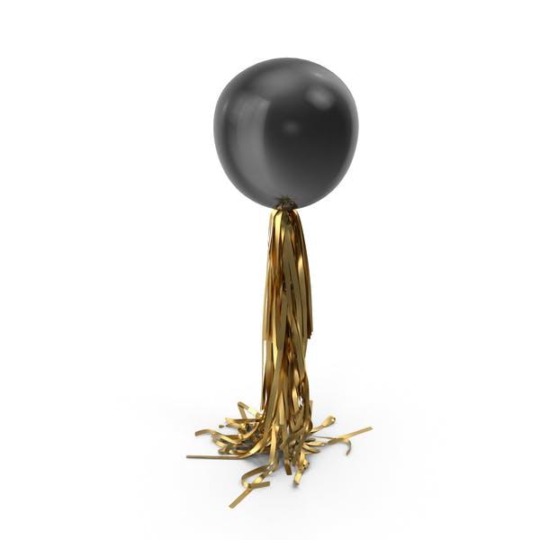 Riesiger schwarzer Ballon mit goldener Quaste Girlande