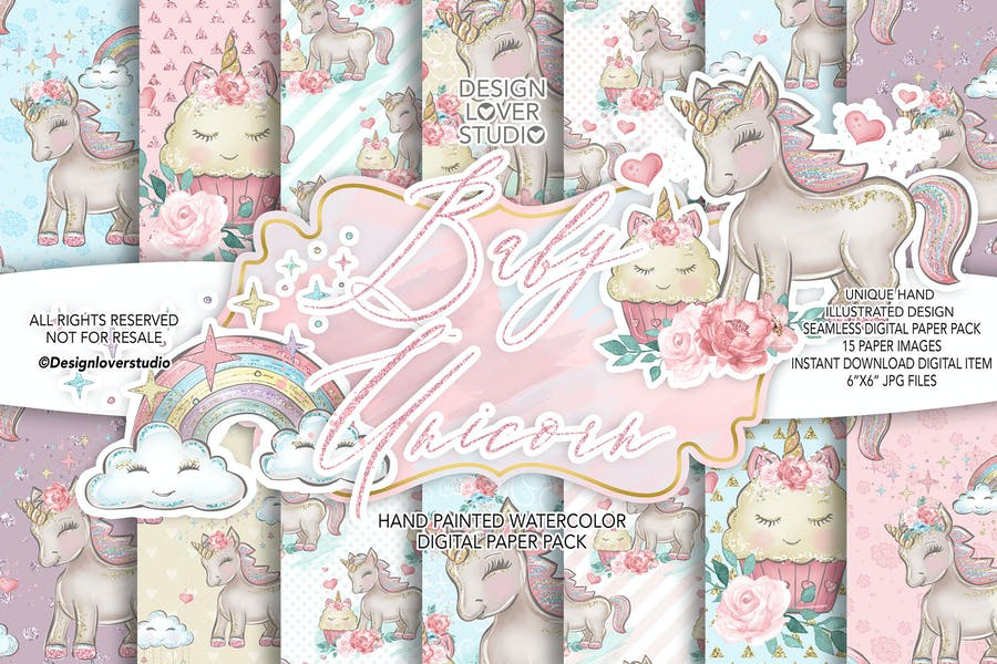 Baby Unicorn digital paper pack