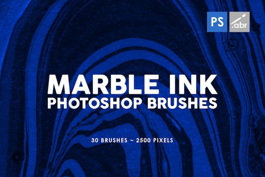 30 Marble Ink Photoshop Brushes Vol. 3