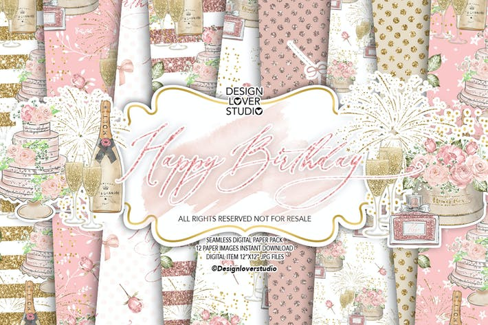 Thumbnail for Happy Birthday digital paper pack
