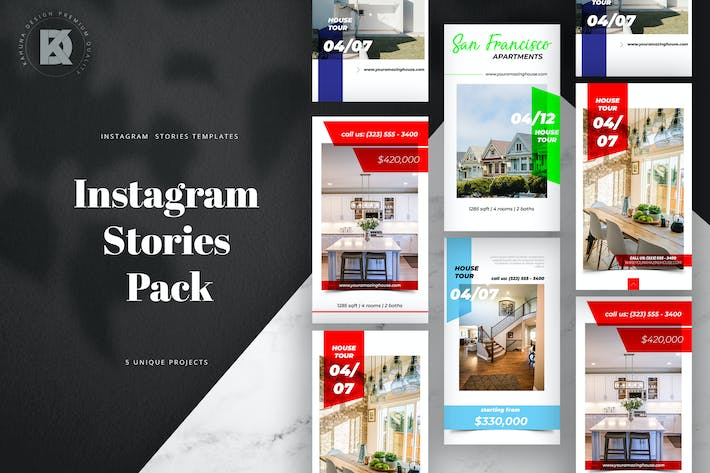 Thumbnail for Real Estate Instagram Stories Banners Pack