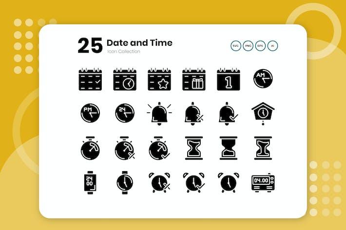 Thumbnail for 25 Datums- und Uhrzeit-Glyphe-Symbol