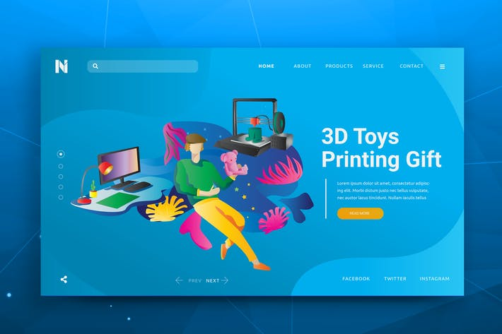 Thumbnail for 3D Gift Printing Web Header PSD and AI Tempate
