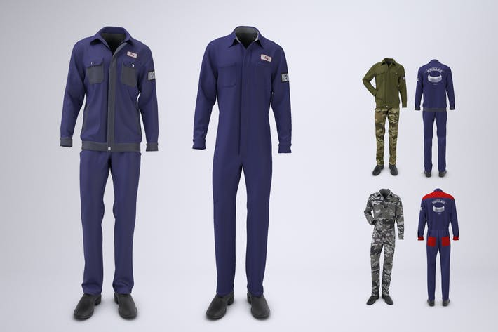 Thumbnail for Mechanic Uniform with Jacket and Coveralls Mock-up