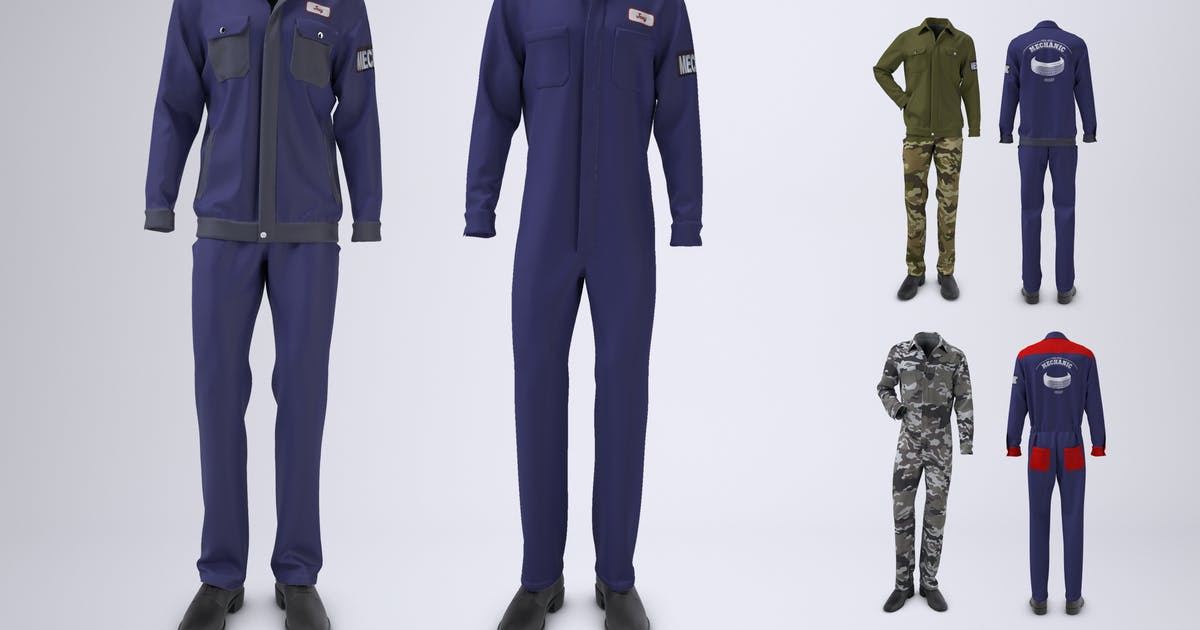 Download Mechanic Uniform with Jacket and Coveralls Mock-up by Sanchi477