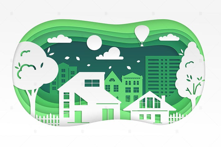 Thumbnail for Town - modern vector paper cut illustration