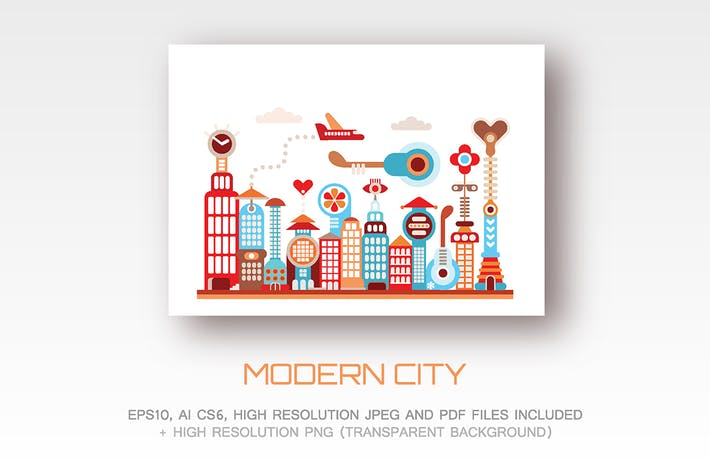 Thumbnail for Modern City vector illustration (5 options)