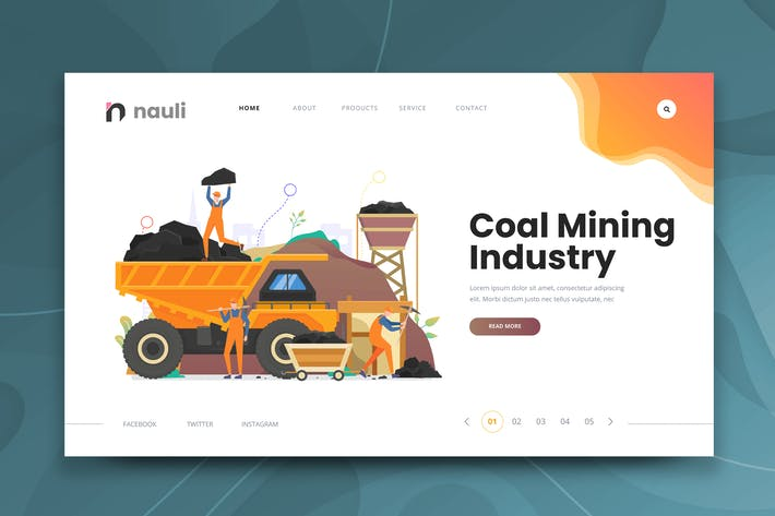 Thumbnail for Coal Mining Industry Web PSD and AI Vorlage