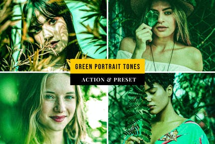 Green Portrait Tones Action & Lightroom Preset
