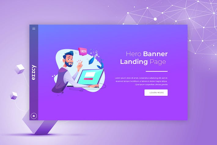Thumbnail for Ezzcy - Hero Banner Landing Page Template