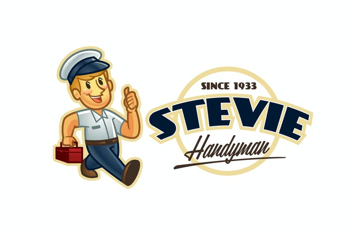 Thumbnail for Retro Cartoon Handyman Mascot Logo