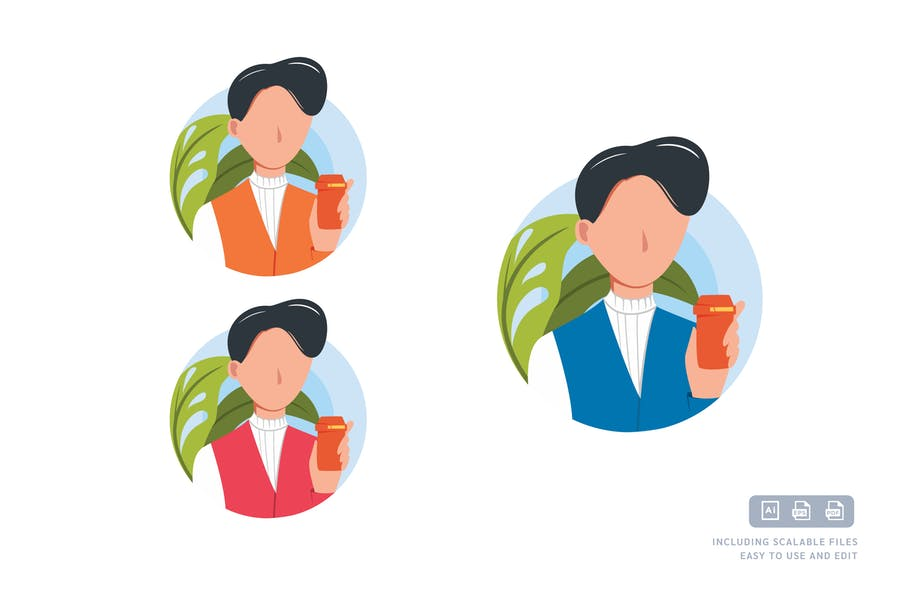 Geschäftsmann - Avatar-ilustrationsVorlage