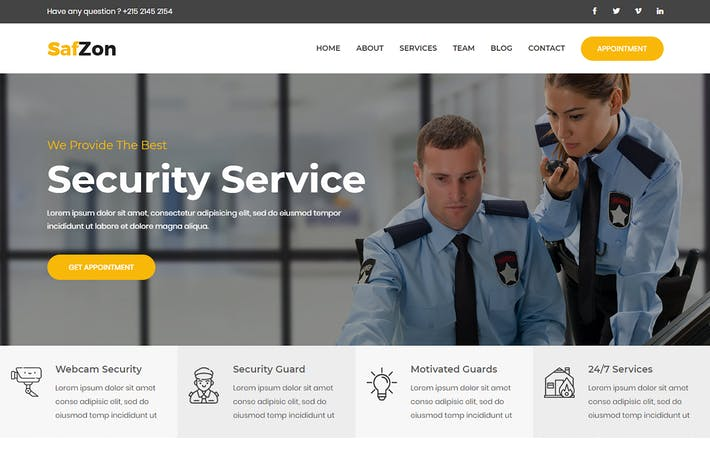 Thumbnail for SafZon - Security Guard Bootstrap 4 Template
