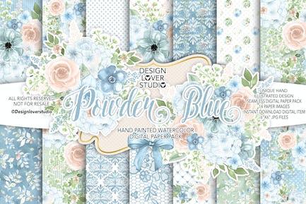 Acuarela POWDER BLUE paquete de Papel Digital