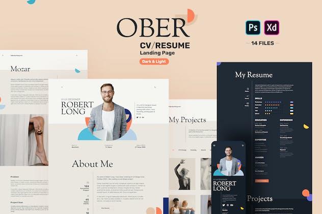 OBER - Resume CV Landing Page PSD & XD Template