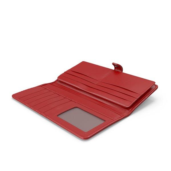 Leather Women Long Wallet Open Red