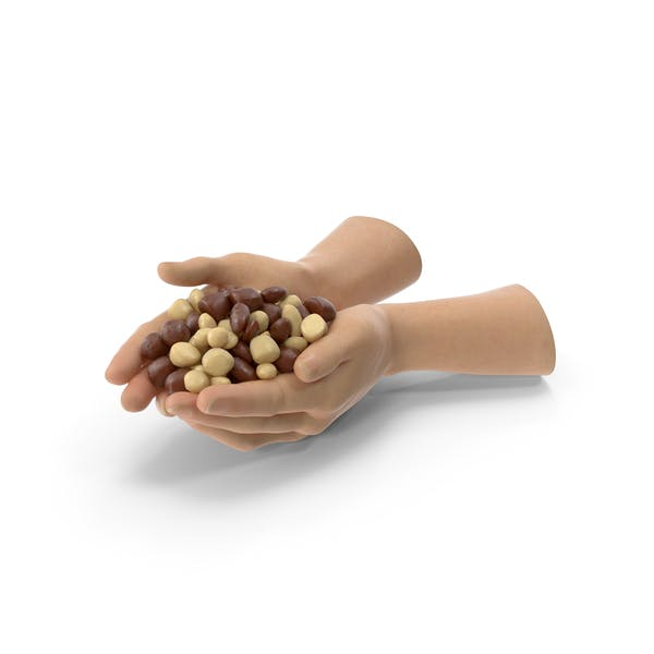 Two Hands Handful With Chocolate Covered Almond Candy