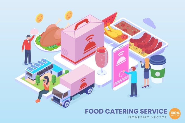 Isometric Food Catering Service Concept