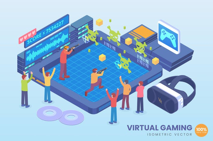 Cover Image For Isometric Virtual Gaming Technology Vector Concept