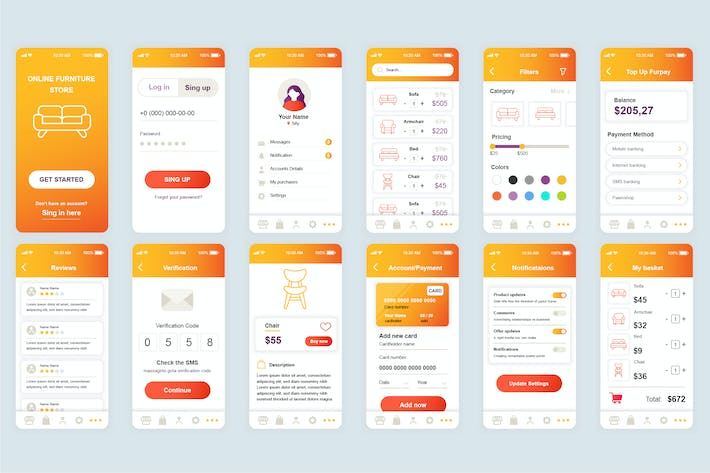 Thumbnail for Shopping Mobile App UI Kit