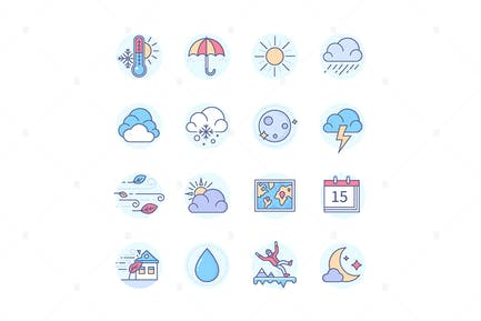 Weather Mobile App - Line Design Style Icons Set