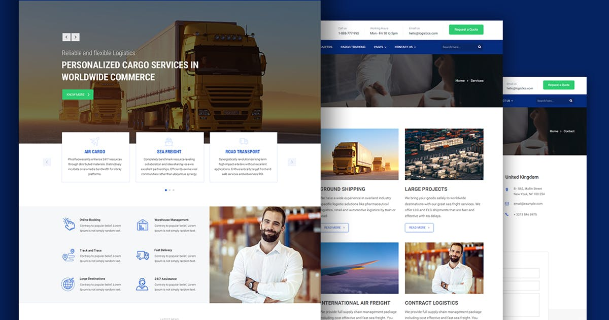 Download Start.ly — Logistics & Cargo Bootstrap Template by surjithctly
