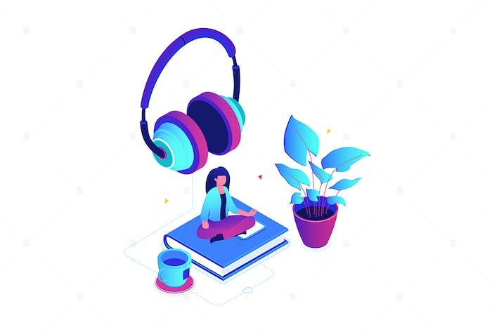 Thumbnail for Listening to music - isometric illustration