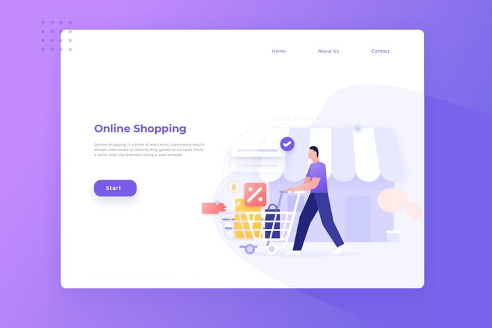 Thumbnail for Online Shopping Landing Page Illustration