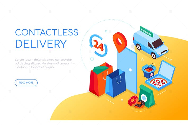 Thumbnail for Contactless delivery - colorful isometric banner