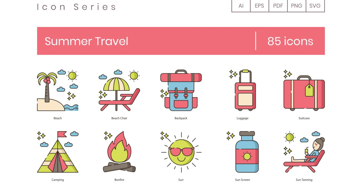 Download 85 Summer Travel Line Icons by Krafted