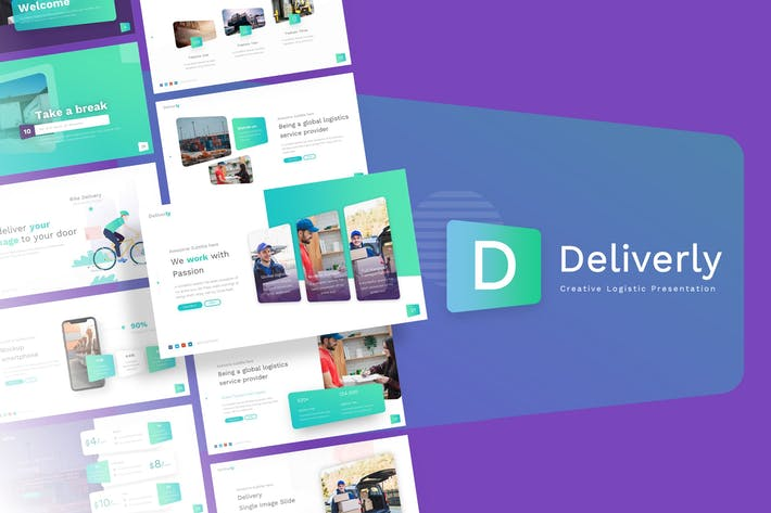 Thumbnail for Deliverly - Logistic PowerPoint Template