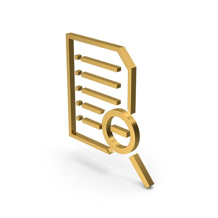 Symbol Document Zoom Out Gold