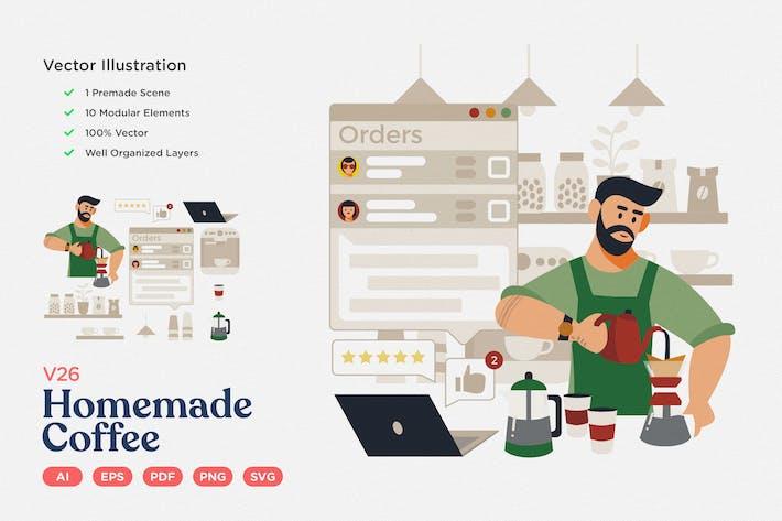 Kulinarische Vektor Illustration: Hausgemachter Kaffee