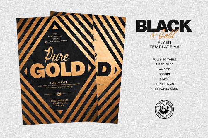 Cover Image For Minimal Black and Gold Flyer Template V6