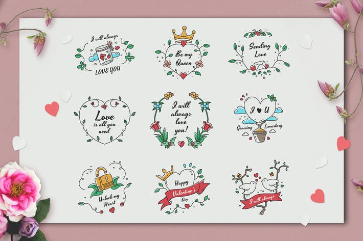 Cover Image For Hand-drawn Valentine's Day Badge Collection