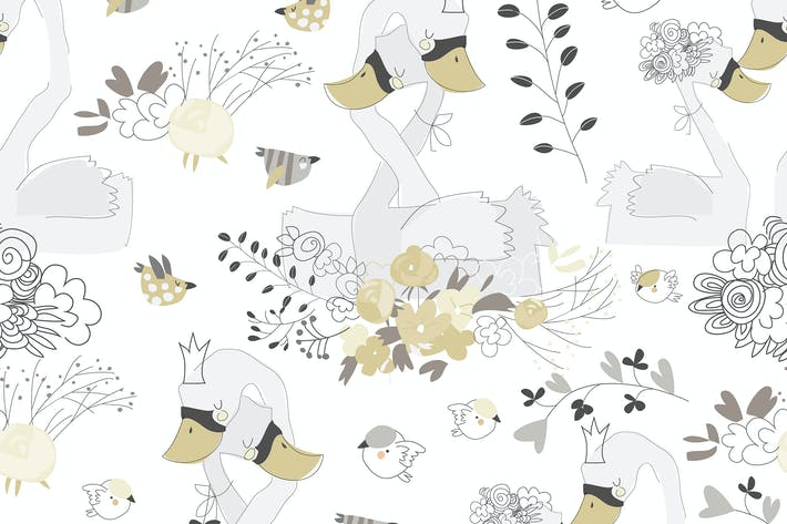 Thumbnail for Vector seamless pattern with couple of swans huggi