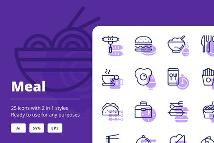 Meal Icons (Line and Solid)