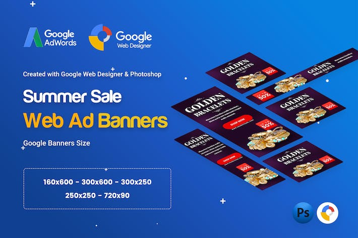 Cover Image For Jewelry Golden Banners Ad - GWD & PSD