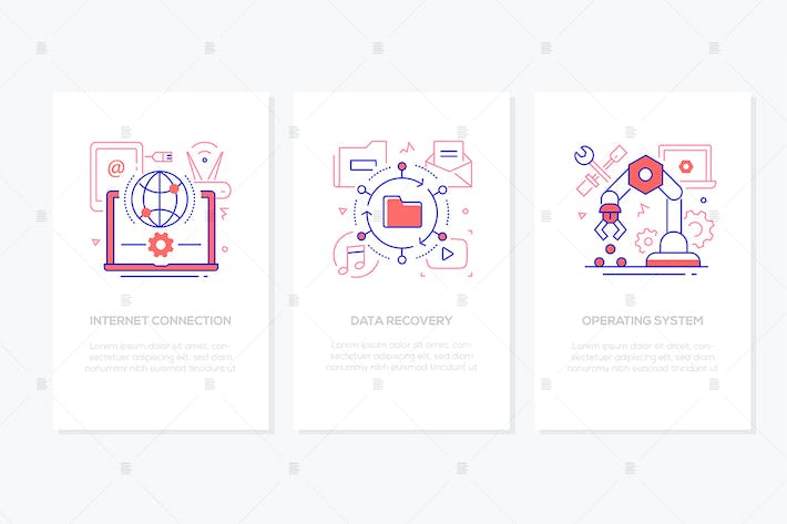Thumbnail for Computer service - line design style banners set