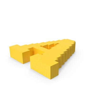 Caricatura estilizada Voxel Pixel Art Letra A sobre el suelo