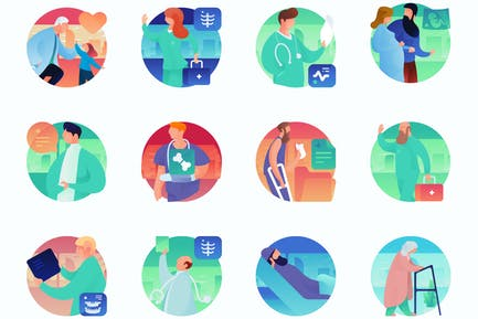 Medical Curvy People Concept Illustrations