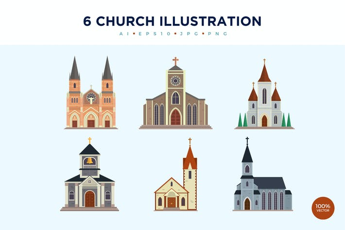 Thumbnail for 6 moderne Kirche Vektor Illustration Set