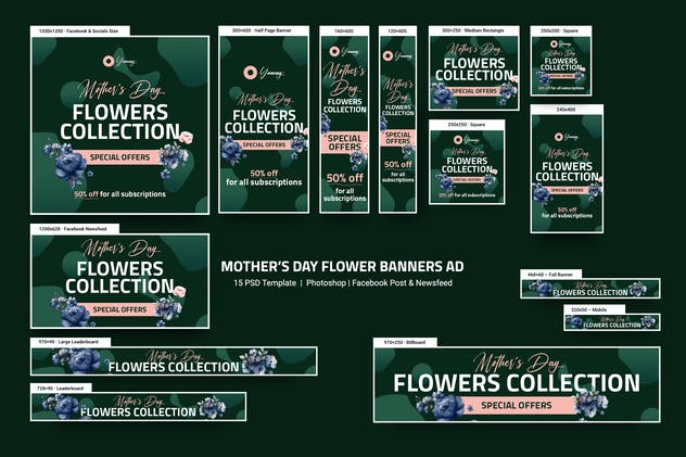 Flowers Store Banners Ad