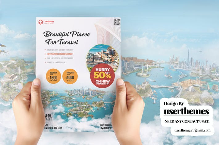 Thumbnail for Travel Tour and Vacation Flyer PSD Template