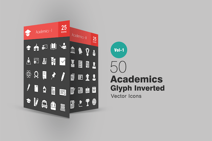 Thumbnail for 50 Academics Glyph Inverted Icons