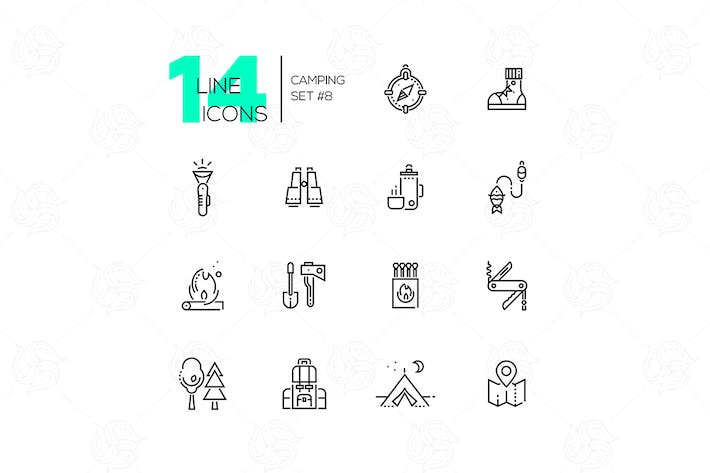 Thumbnail for Camping and Hiking - line icons set